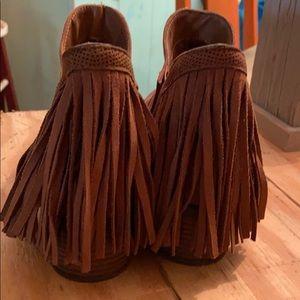 Faded Glory Brown Fringe Heel Booties size 7.5